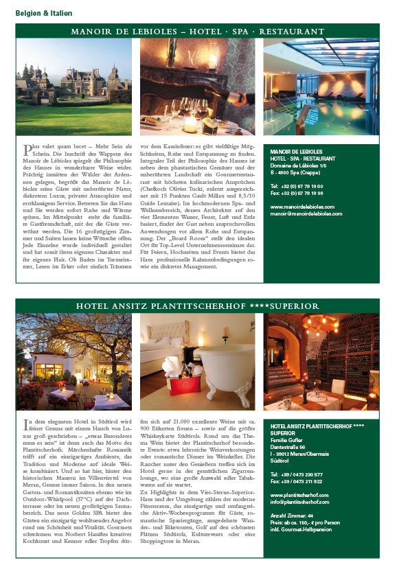 Musterseite aus dem Guide: Schlosshotels im Porträt